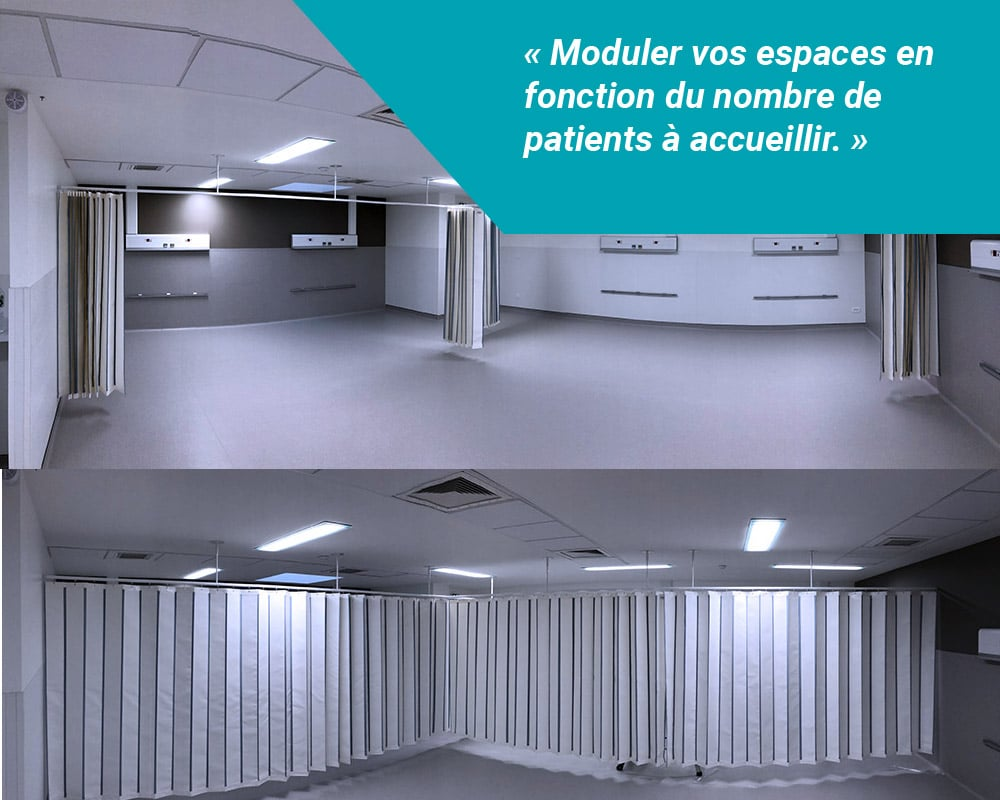 Les paravents suspendus bionettoyables et bactériostatiques Médicascreen® vous aident à moduler vos espaces de santé comme les hôpitaux de jour, en fonction du nombre de patients à accueillir.
