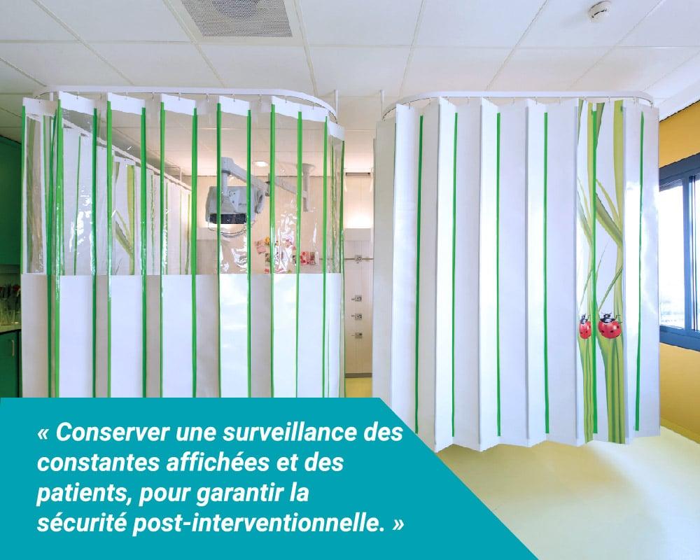 Les écrans à fenêtres transparentes Med-Activ XS Crystal ® Médicascreen® sont particulièrement adaptés pour les SSPI, permettant de surveiller les constantes des patients, pour garantir la sécurité post-interventionnelle.