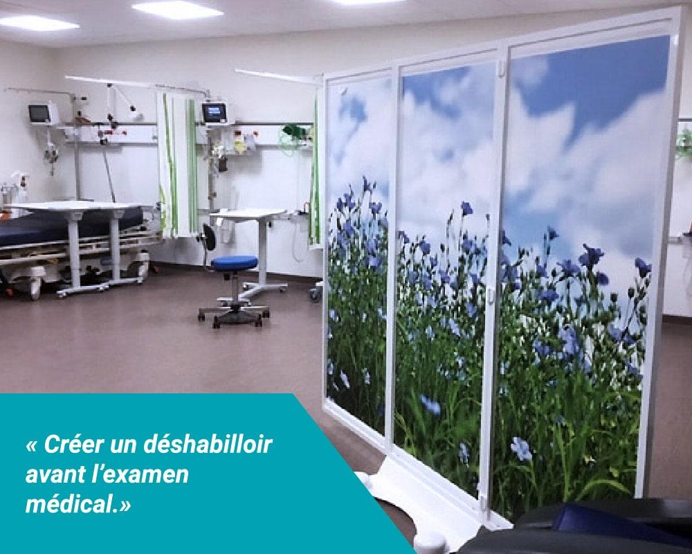 Paravents mobiles ou suspendus Médicascreen faciles à mettre en place pour créer un déshabilloir dans les cabinets et salles de consultations, avant examen médical